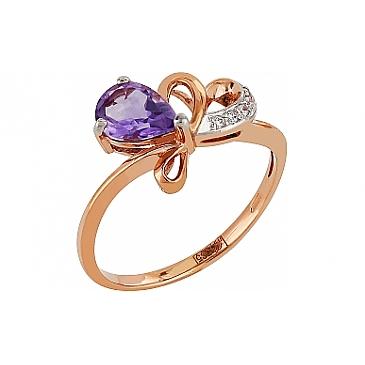 Кольцо с аметистом и фианитом из красного золота 96910 от EVORA