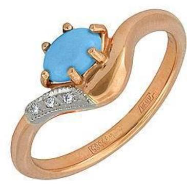 кольцо c бирюзой и бриллиантами из красного золота 12731586