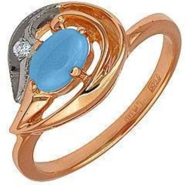 кольцо c бирюзой и бриллиантом из красного золота 12731636