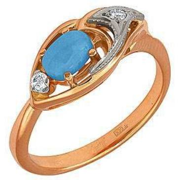 кольцо c бирюзой из красного золота 12731633