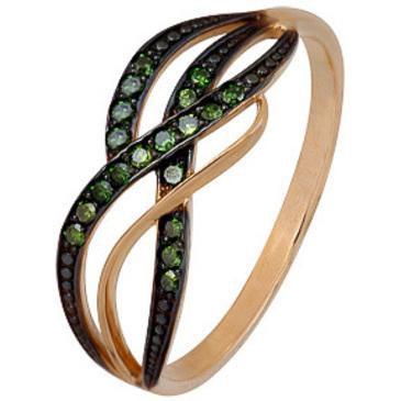 кольцо c 19 зелеными бриллиантами из красного золота 1000202293-3-1