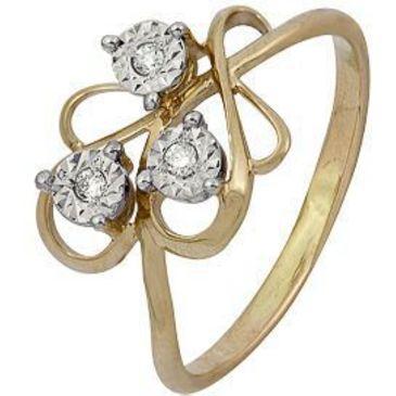 кольцо c бриллиантами из красного золота 1007102031