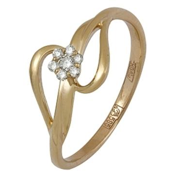 кольцо c бриллиантами из красного золота 11038421