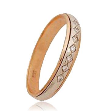 кольцо c бриллиантами из красного золота 1006200239