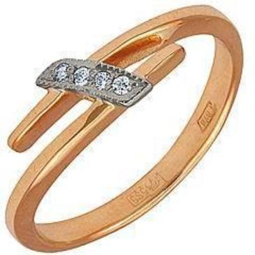 кольцо c бриллиантами из красного золота 12031536