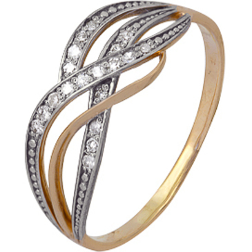 кольцо c бриллиантами из красного золота 1000202293