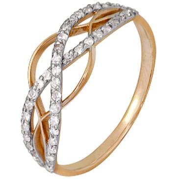 кольцо c бриллиантами из красного золота 1000202294