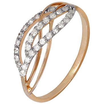 кольцо c бриллиантами из красного золота 1000202308