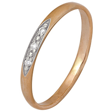 кольцо c бриллиантами из красного золота 1000202392