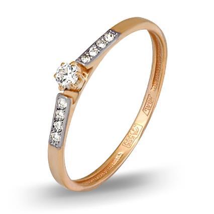 кольцо c бриллиантами из красного золота 11034327