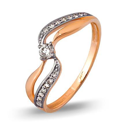 кольцо c бриллиантами из красного золота 1000202665