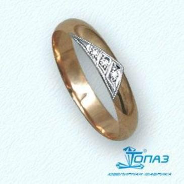 кольцо c бриллиантами из красного золота т13101225