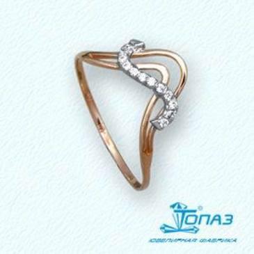 кольцо c бриллиантами из красного золота т14101834