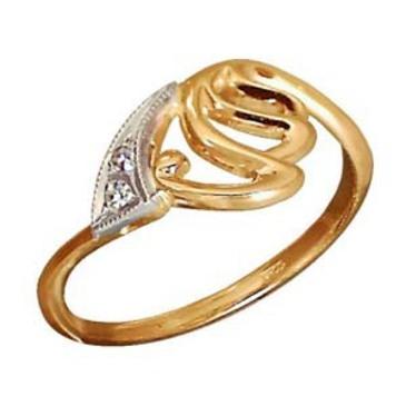 кольцо c бриллиантами из красного золота 1006200102