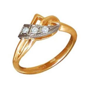 кольцо c бриллиантами из красного золота 1006200108