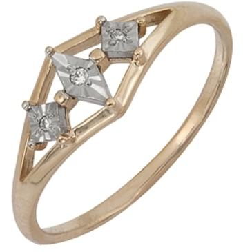 кольцо c бриллиантами из красного золота 1007101717