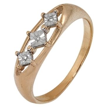 кольцо c бриллиантами из красного золота 1007101720