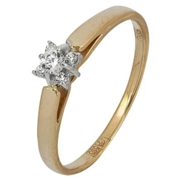 кольцо c бриллиантами из красного золота 12038275