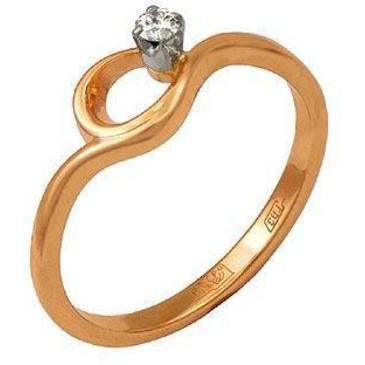 кольцо c бриллиантом из красного золота 12031412
