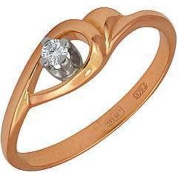кольцо c бриллиантом из красного золота 12031593