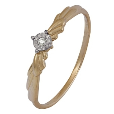кольцо c бриллиантом из красного золота 1007102018