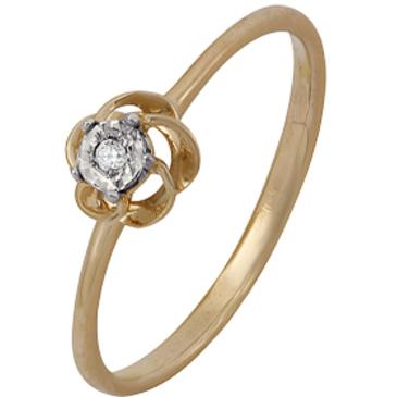 кольцо c бриллиантом из красного золота 1007102032