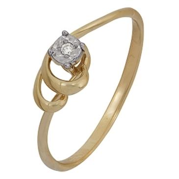 кольцо c бриллиантом из красного золота 1007102041