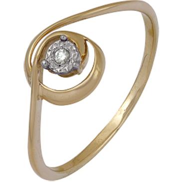 кольцо c бриллиантом из красного золота 1007102048