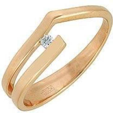 кольцо c бриллиантом из красного золота 11031439