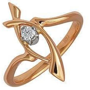 кольцо c бриллиантом из красного золота 12031587