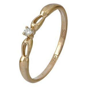 кольцо c бриллиантом из красного золота 11038581