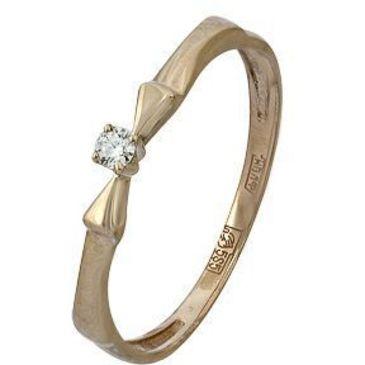 кольцо c бриллиантом из красного золота 11038592