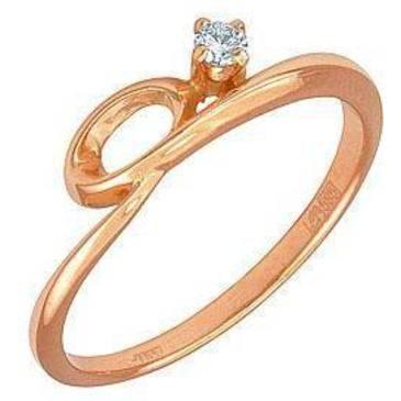 кольцо c бриллиантом из красного золота 11031565