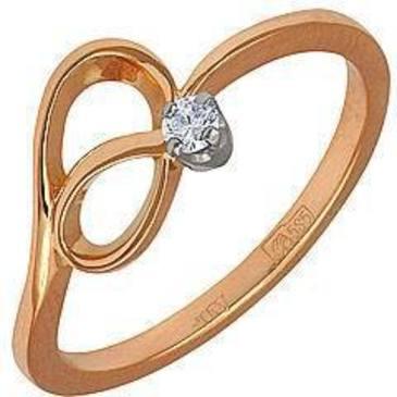 кольцо c бриллиантом из красного золота 12031409