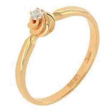 кольцо c бриллиантом из красного золота 11038274