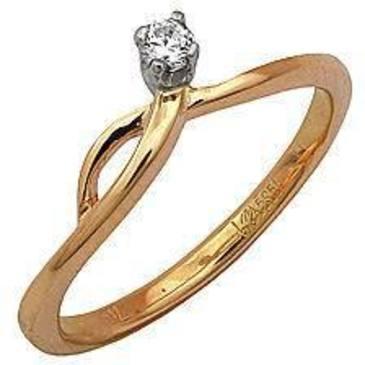 кольцо c бриллиантом из красного золота 11031411