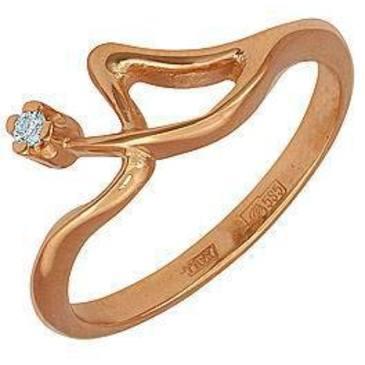 кольцо c бриллиантом из красного золота 11031567