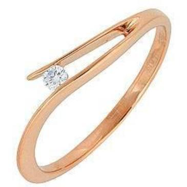 кольцо c бриллиантом из красного золота 11032556