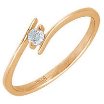 кольцо c бриллиантом из красного золота 11032605