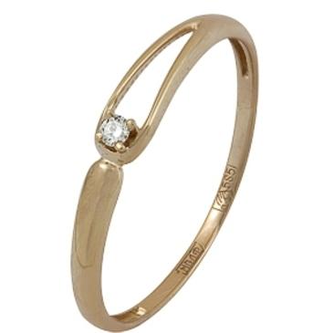 кольцо c бриллиантом из красного золота 11038579