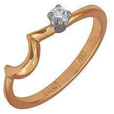 кольцо c бриллиантом из красного золота 12031413