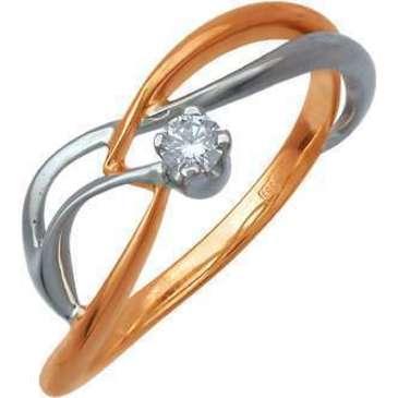 кольцо c бриллиантом из красного золота 12031434