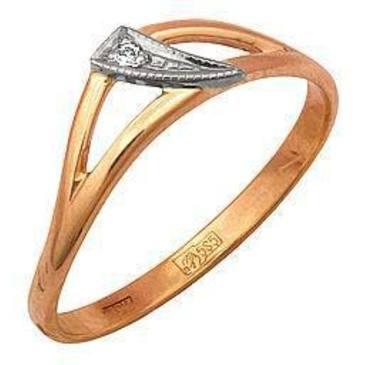 кольцо c бриллиантом из красного золота 12031659