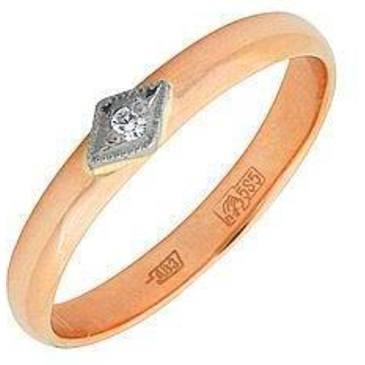 кольцо c бриллиантом из красного золота 12032084