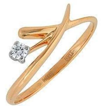 кольцо c бриллиантом из красного золота 12032410
