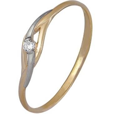 кольцо c бриллиантом из красного золота 1000202381