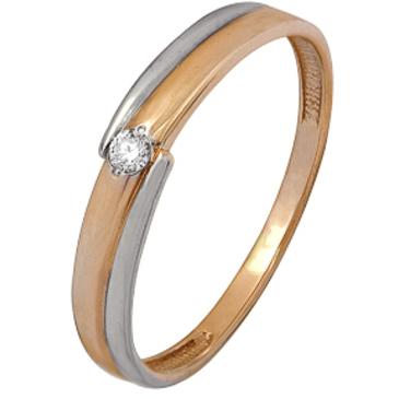 кольцо c бриллиантом из красного золота 1000202394