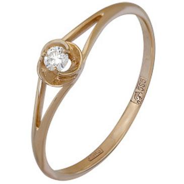 кольцо c бриллиантом из красного золота 11034514