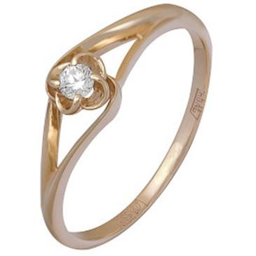 кольцо c бриллиантом из красного золота 11034516