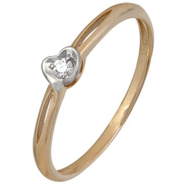 кольцо c бриллиантом из красного золота 1000202522